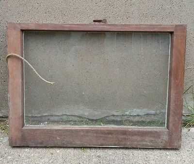VINTAGE WOOD WINDOW FRAME LOWER SASH SINGLE PANE GLASS  28.25 W in 20 H in