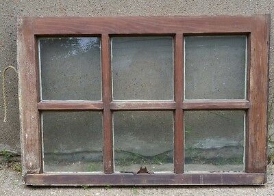 VINTAGE WOOD WINDOW FRAME UPPER SASH SIX PANE GLASS  28.25 W in 19.25 H in
