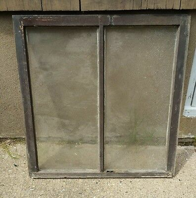 VINTAGE WOOD WINDOW FRAME UPPER SASH TWO PANE GLASS  31.25 W in 32.75 H in