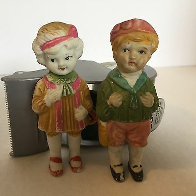Set Of Boy And Girl Porcelain Figurines Made In Occupied Japan