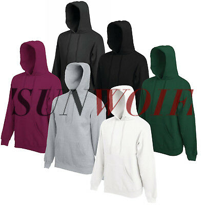 Men Women Hooded Sweatshirt Plain Design Coat Casual Warm Black Pullover Hoody