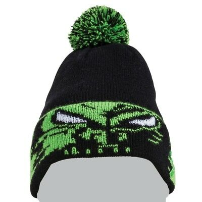Arctic Cat Team Arctic Eyes Winter Beanie Hat with Pom – Black & Lime – 5263-047