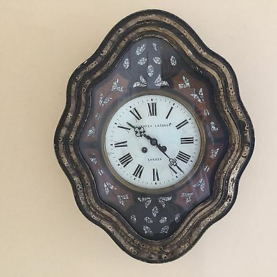 Antique French Napoleon III Style Ebony Mother of Pearl Wall Clock
