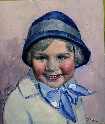 Meyer Skoss listed artist watercolor painting original vintage portrait girl