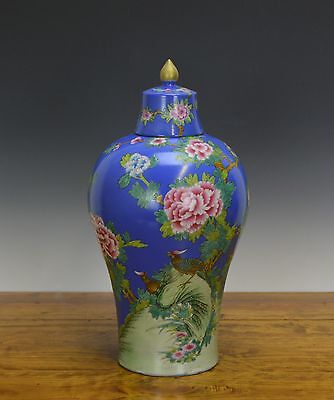 A Chinese Marked Famille Rose Floral Meiping Blue Ground Porcelain Vase with Lid