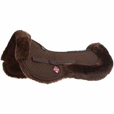 LeMieux cordero Half Pad, Unisex, Lambskin, Dark Brown Wool/Brown Fabric, large