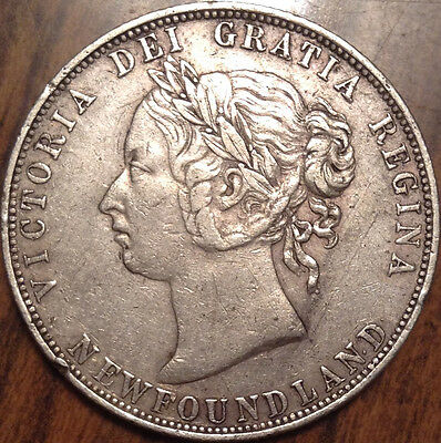 1898 Large W Nfld Newfoundland Silver 50 Fifty Cents