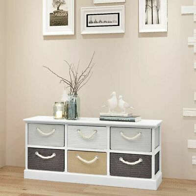B#Wood Hall Entryway Storage Bench Cabinet Chest Free Standing with 6 Drawers