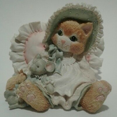 Calico Kittens A Warm Hug With My Friend 1993 623504 Enesco cat figurine bonnet
