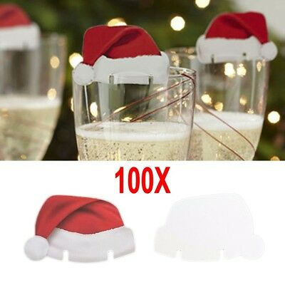 100Pcs Xmas Hats Champagne Wine Glass Caps Christmas Holiday Party Decoration