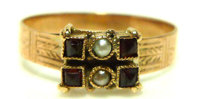 Antique Victorian Nouveau 10K Yellow Gold Garnet Seed Pearl Ring Band Size 6