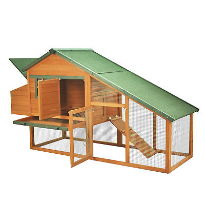 """Pawhut 87"""" Wood Chicken Coop Poultry Hen House w/ Backyard Run 2 Nesting Boxes"""