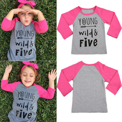 Toddler Baby Kids Girls Long Sleeve Casual T-shirt Tops Outfits Blouses Clothes