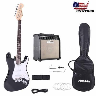 Full Size Black Electric Guitar with 15W Amp, Case Accessories Kit Beginner G3M8