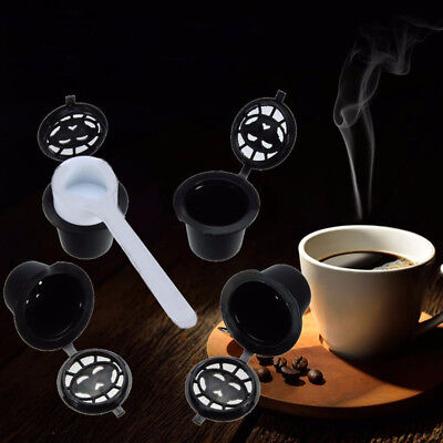 4pcs Reusable Refillable Capsules + 1 Spoons For Dolce Gusto Brewers Refill Cup