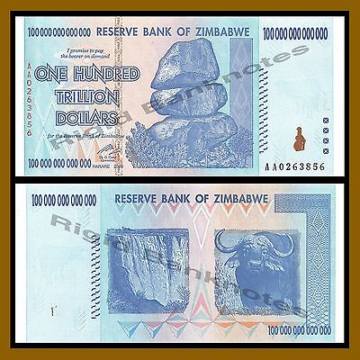 Zimbabwe 100 Trillion Dollars, 2008 AA P-91 Bird-Mark Scratch Unc