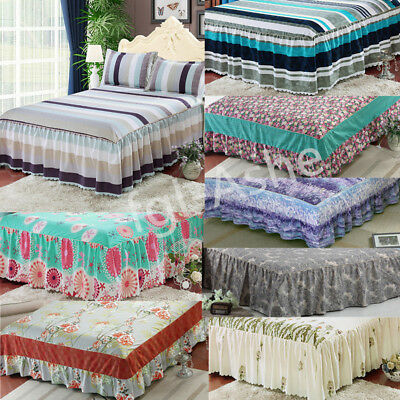 Ruffled Bed Sheet Bed Skirt Queen Size Bed Cover Bedspread Bedding Home Decor