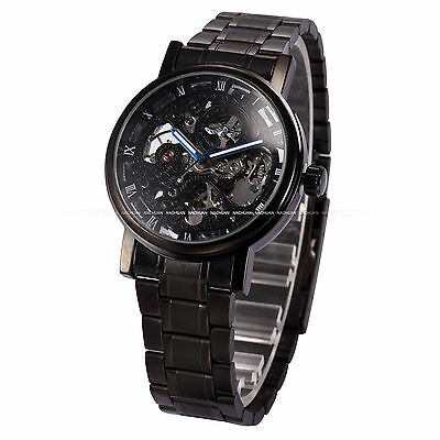 Skeleton Black Stainless Steel Men's Automatic Mechanical Sport Wrist Watch