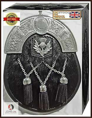 Scottish Highland Kilt Sporran Best Quality Black Cowhide Leather  & Chain Belt