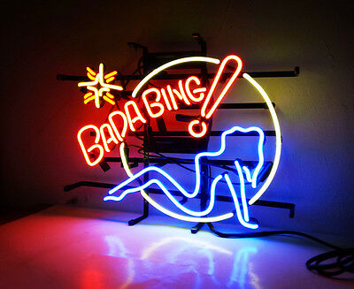 BADA BING Hot Girl Hand Craft Neon Sign Bistro Bar Pub Decor Wall Custom Poster