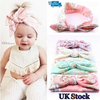 UK Adults Girls Kids Baby Bow Hairband Headband Sweet Turban Knot Head Wrap 4Pcs
