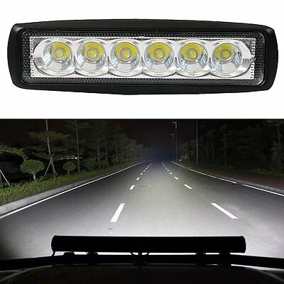 18W Flood LED Light Work Bar Lamp Driving Fog Offroad SUV 4WD Car Boat Truck Kit