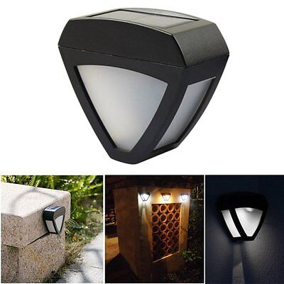Outdoor Solar Power White LED Wall Light Garden Mount Path Landscape Fence Lamp