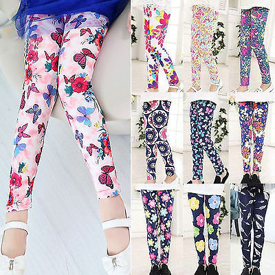 Toddler Kids Girls Leggings Stretch Floral Printed Pants Children Trousers 4-12Y