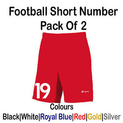 """Iron On Pack of 2 Single Football Shorts /Short Number Numbers 3"""" New Prem Font"""