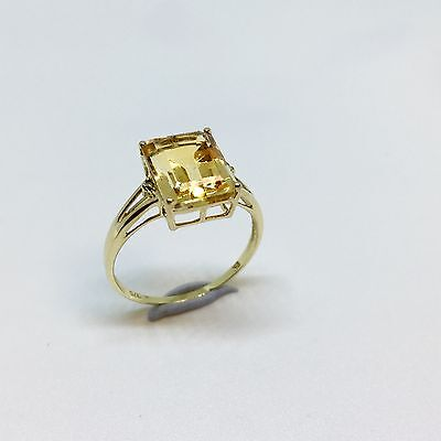CITRINE Emerald Cut Solitaire Ring w Diamond Accents 9k Yellow Gold - Size N 1/2
