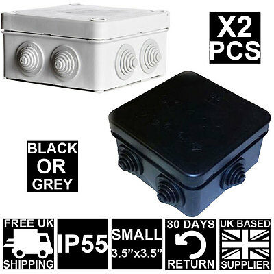 2X GREY White OR Black IP Waterproof Joint Outdoor CCTV Electrical Junction Box