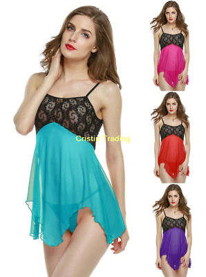 Sexy Women's Lace Lingerie Nightwear Underwear Babydoll Dress Plus Size S-2XL