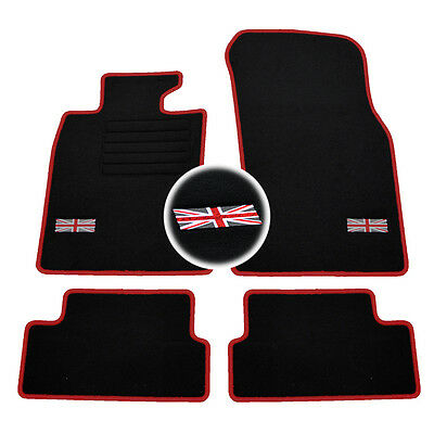 4 Tapis Sol Mini 2006-2013 R56 Cooper One Moquette Logo Rouge Flag Uk Sur Mesure