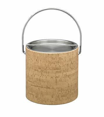 Kraftware Natural Cork 3 qt. Ice Bucket with Metal Bar Cover
