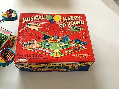Karussell Merry Go Round Japan Tin Toy MS 410  Blechspielzeug ca.1960  Mint Box