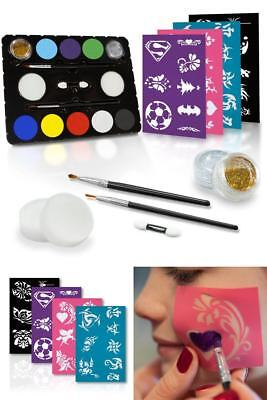 Face Painting Stencil Kit DIY Set Body Tattoo KIDS Birthday Party Halloween