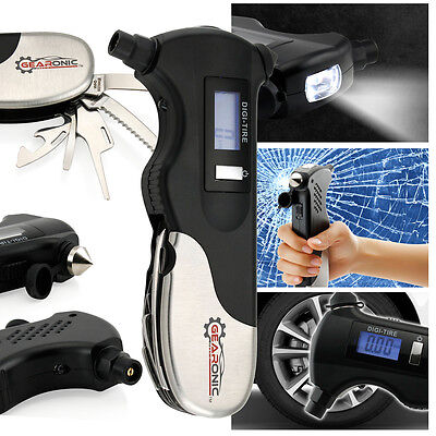 GEARONIC Digital LCD Pneu jauge pression air 5 in 1 urgence outil voiture auto