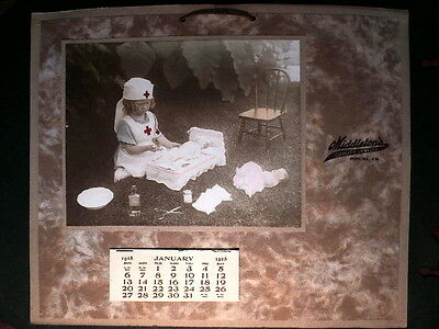 Charming 1918 Calendar - Little Girl in Nurse Outfit Takes Care of Sick Dollies