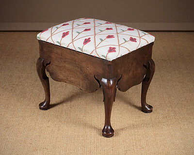 Antique GEORGE III CABRIOLE LEG STOOL C.1780