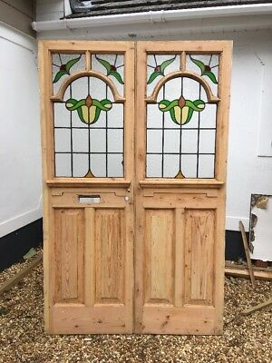 Stained Glass Door Front Doors Wood Period Reclaimed Old Edwardian C1905 Lead