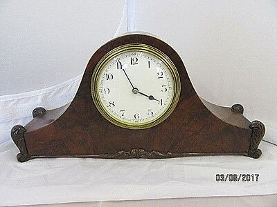 French Burr Walnut Napoleon Hat Mantel Clock