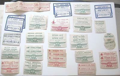 Antique Pharmacy Poison Labels Lot Apothecary Drug Store Bottle Medical Display