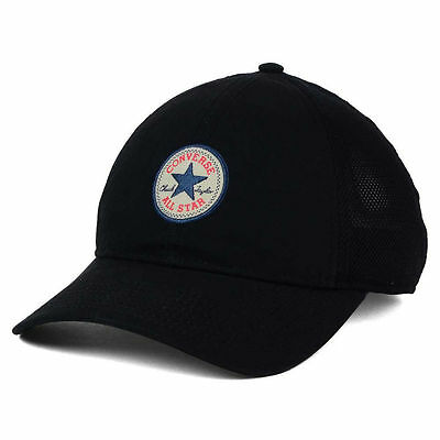 Converse Washed Trucker Hat Cap Lid Chuck Taylor All Star Snapback Black Mesh OS