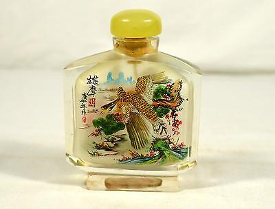 Large Glass Inside Painted Snuff Bottle - Bird & Flower Pattern - Red Box