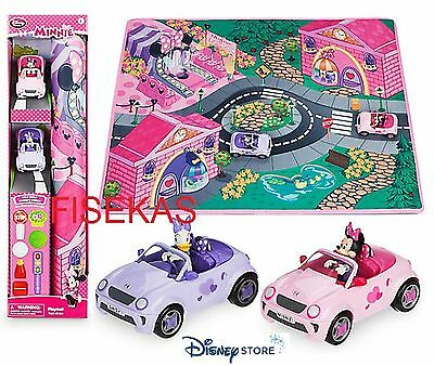 Disney Store Minnie Mouse Bow Playmat and 2 Vehicles Play Mat Road Set Cars NEW