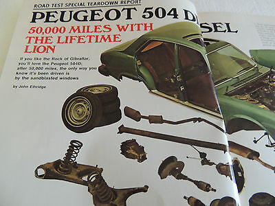 1975 Peugeot 504 Sedan Road Test Magazine 50K Tear down Reprint Sales Brochure