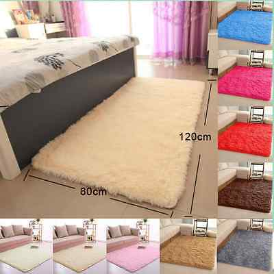 80x120cm Fluffy Soft Anti-Slip Shaggy Rug Dining Room Bedroom Carpet Floor Mat A