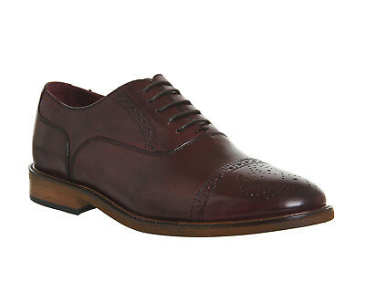 Mens Poste Dolce Toecap Brogues BURGUNDY LEATHER Formal Shoes *Ex Display*