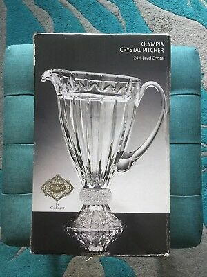 GODINGER Shannon Olympia 24% Lead Crystal Pitcher 38 Fl. Oz.  *Brand New In Box*