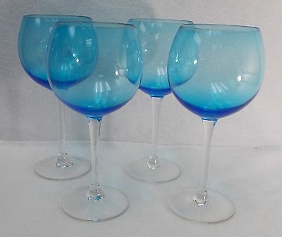 """Unknown Manufacturer crystal BLUE BOWL Set of 4 Balloon Wine Glasses  8-3/4"""""""